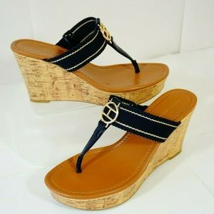 TOMMY HILFIGER Nautical T-Strap Wedge Cork Sandals